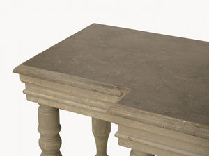 WOODCROFT STONE TOP AND COLONIAL GREY CONSOLE TABLE