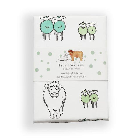 Children's Organic Single Bed Pillowcase Twin Lambs
