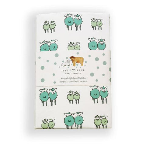 Children's Organic Single Fitted Sheet Twin Lambs