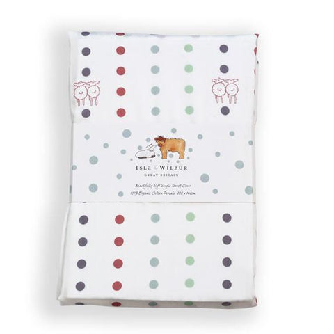 Children's Organic Single Bed Fitted Sheet Spots