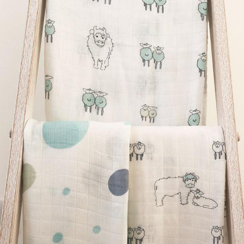 Green Spots Bamboo Swaddle