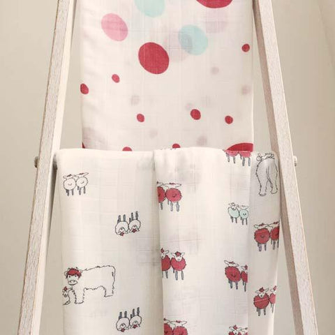 Raspberry Spots Bamboo Swaddle