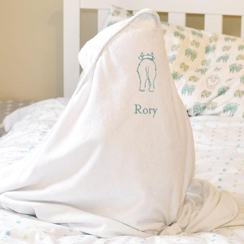 Embroidered Personalised Wilbur Calf Hooded Towel