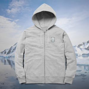Polar Bear Zip-up Hoodie Heather Grey