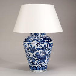 Imari Hand Decorated Porcelain Vase Lamp-Blue