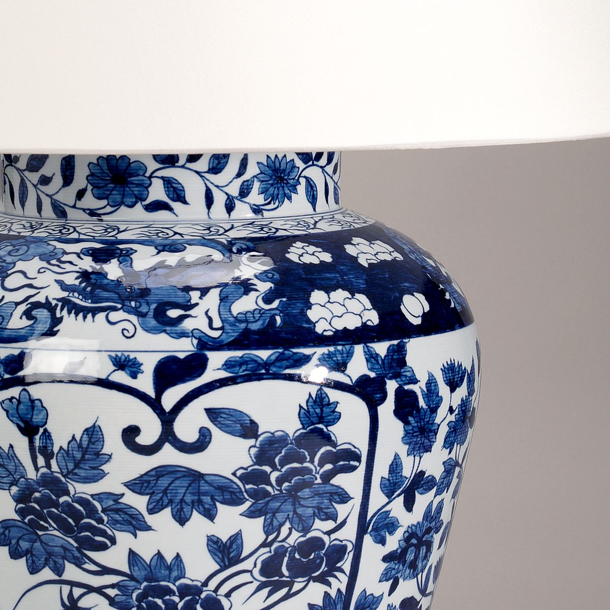 Imari Hand Decorated Porcelain Vase Lamp-Blue-Detail