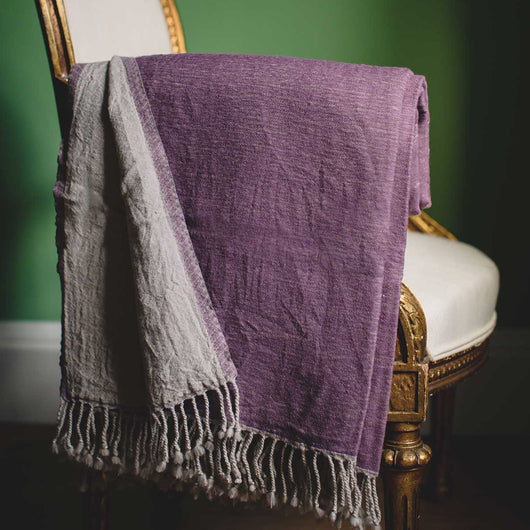 Amethyst Washed Wool Throw | Nicholas Engert Interiors