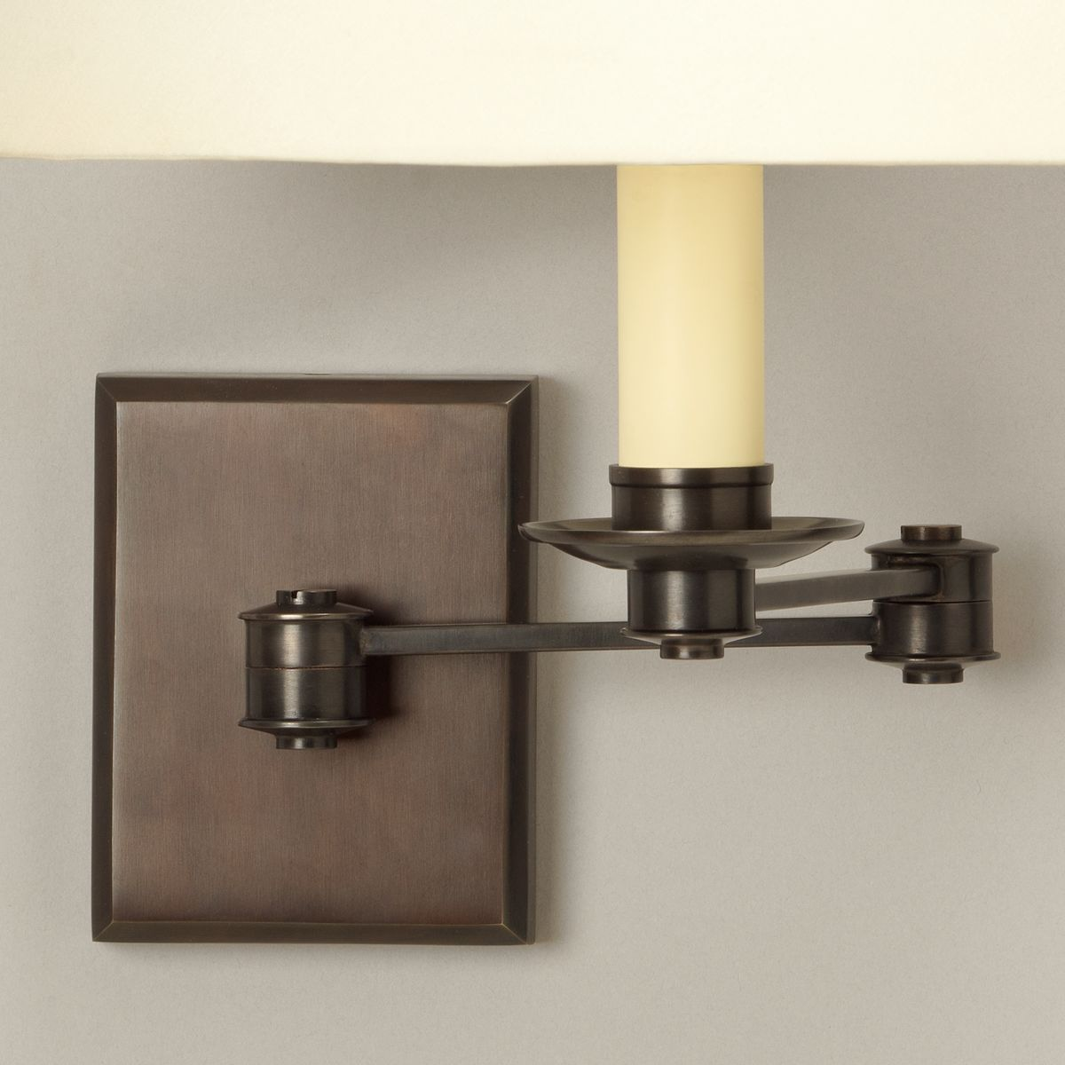 Preston Swing Arm Wall Light-Bronze-Detail