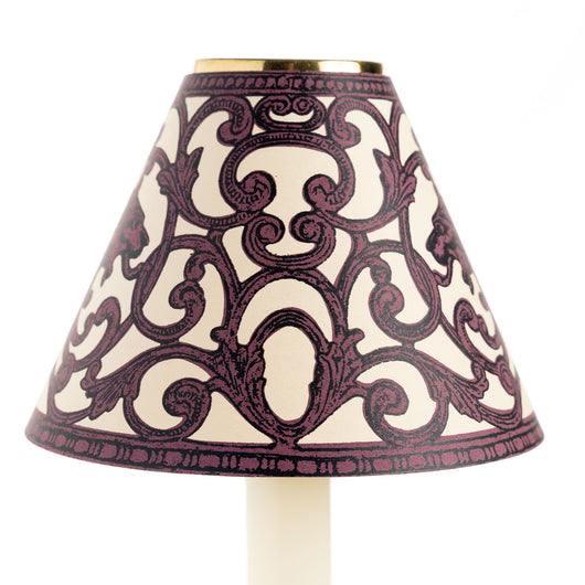 Card Candle Shade - Burgundy Filigree Griffin | Nicholas Engert Interiors