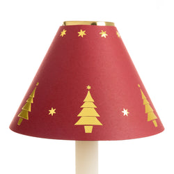Card Candle Shade - Gold Christmas Tree - Red | Nicholas Engert Interiors