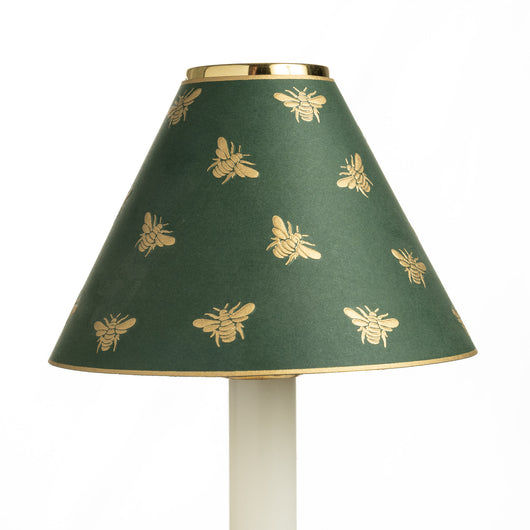 Candle Shade - Gold Embossed Napoleon Bee - Green | Nicholas Engert Interiors