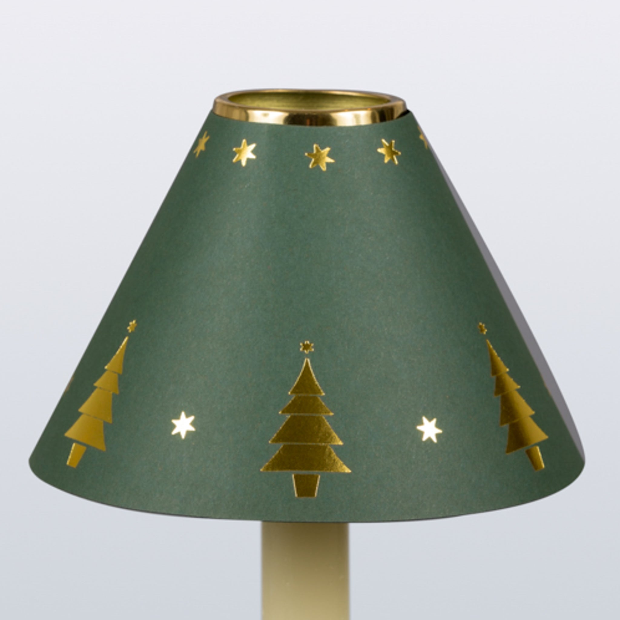 Decorative Candle Shade-Printed Card-Gold Christmas Tree Green | Nicholas Engert