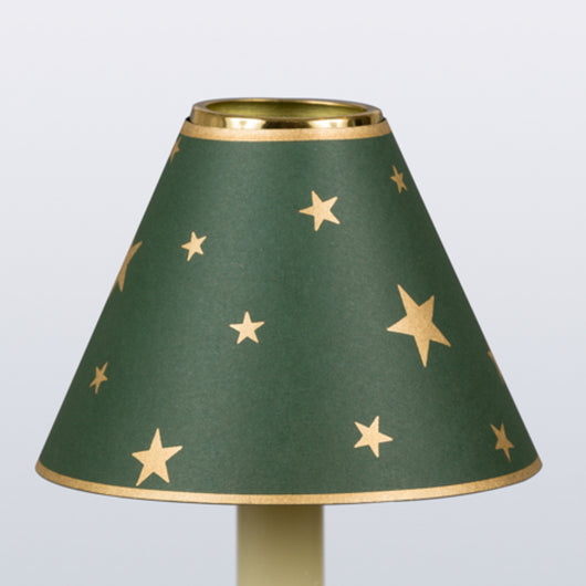 Decorative Candle Shade-Printed Card-Gold Stars On Green | Nicholas Engert