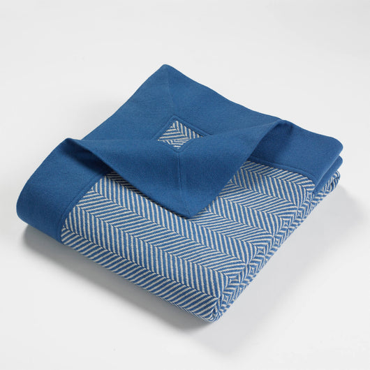 Cortland Blended Cashmere Twill Throw-Blue | Nicholas Engert Interiors