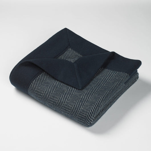 Cortland Blended Cashmere Twill Throw-French Navy | Nicholas Engert Interiors