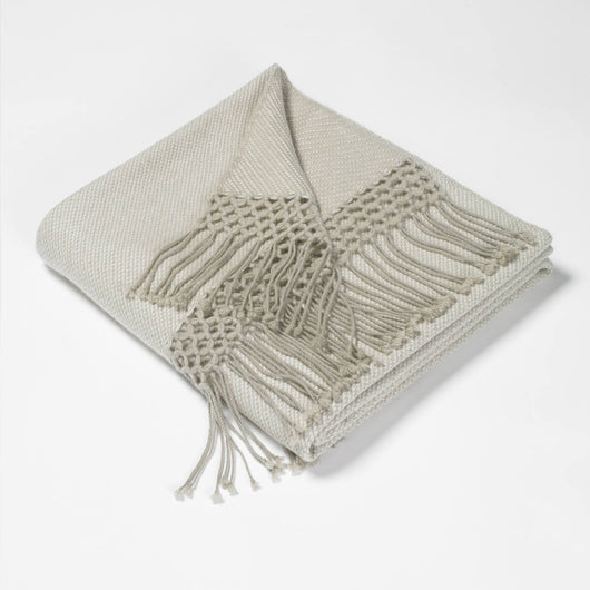 Pure Cashmere Twill Throws-White & Smoked Pearl | Nicholas Engert Interiors