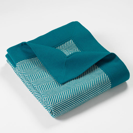 Cortland Blended Cashmere Twill Throw-Teal | Nicholas Engert Interiors