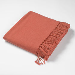 Luxury Cashmere & Lambswool Throw-Grapefruit | Nicholas Engert Interiors