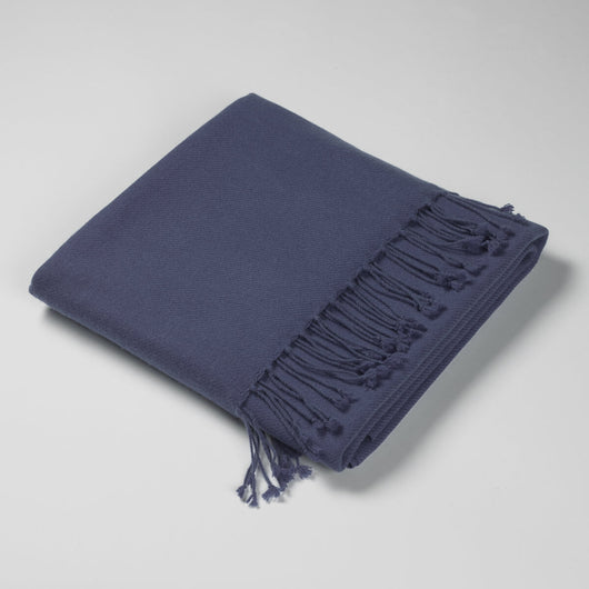 Luxury Cashmere & Lambswool Throw-Moody Blue | Nicholas Engert
