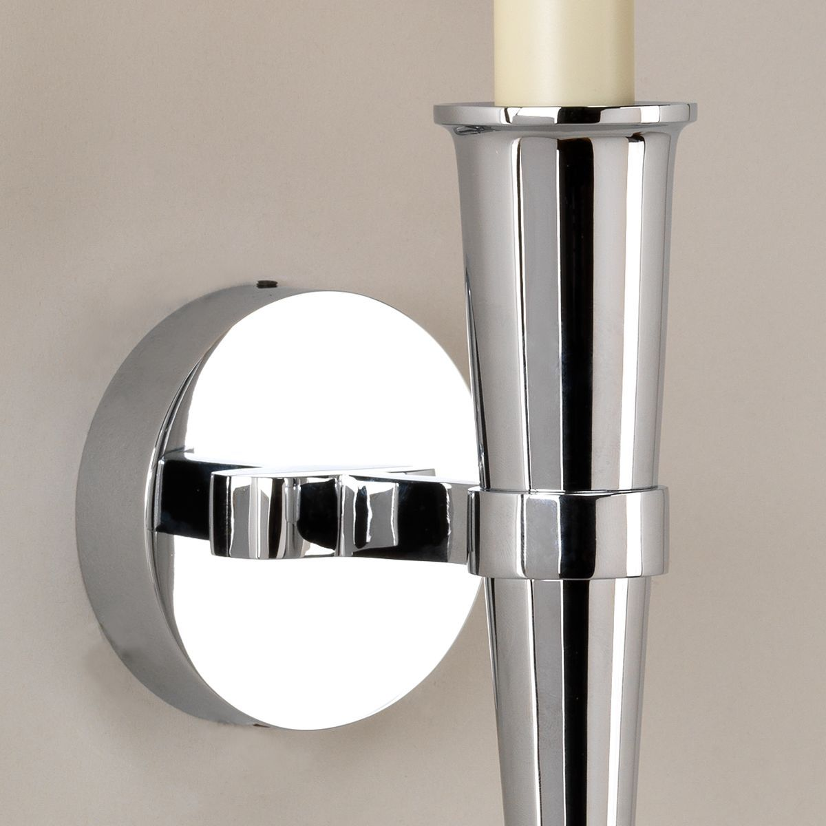 Arras Cone Bathroom Wall Light-Chrome-Detail