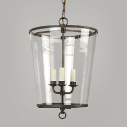 Zurich Lantern-Bronze-Clear Glass