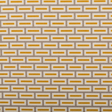 Geometric Print Fabric - Lozenge P05.1/208-LC Curry/Vervain - Lynton-Cool Coconut