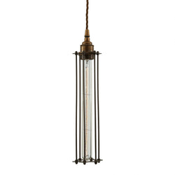 Beirut Pendant in Antique Brass with Bronze Cage