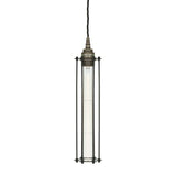 Functional Lighting Collection : Beirut Pendant in Antique Siver with Black Cage