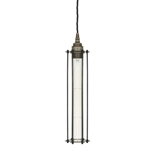 Beirut Pendant in Antique Siver with Black Cage