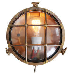 Adoo Outdoor Bulkhead Lamp-Antique Brass | Nicholas Engert
