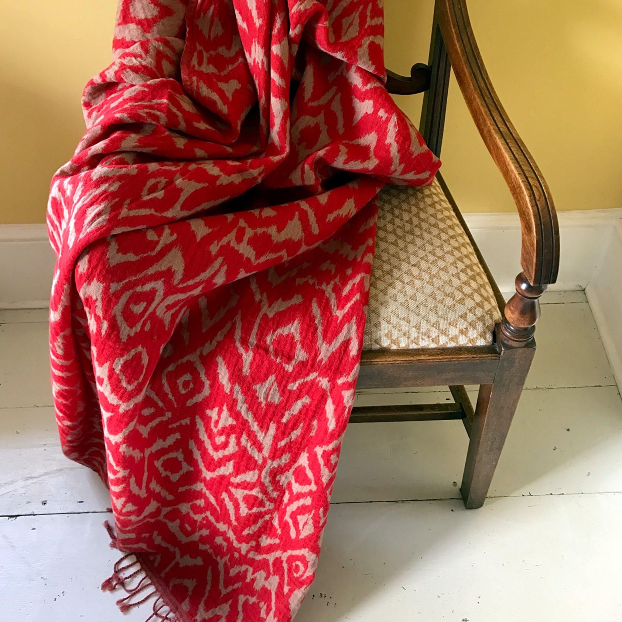 Scarlet Wool Ikat Throw | Nicholas Engert Interiors