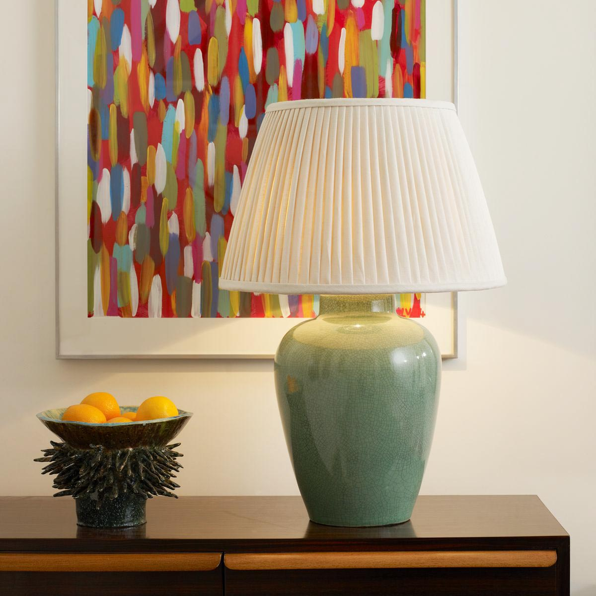 Melon Vase Table Lamp - Crackled Celadon - Context | Nicholas Engert Interiors