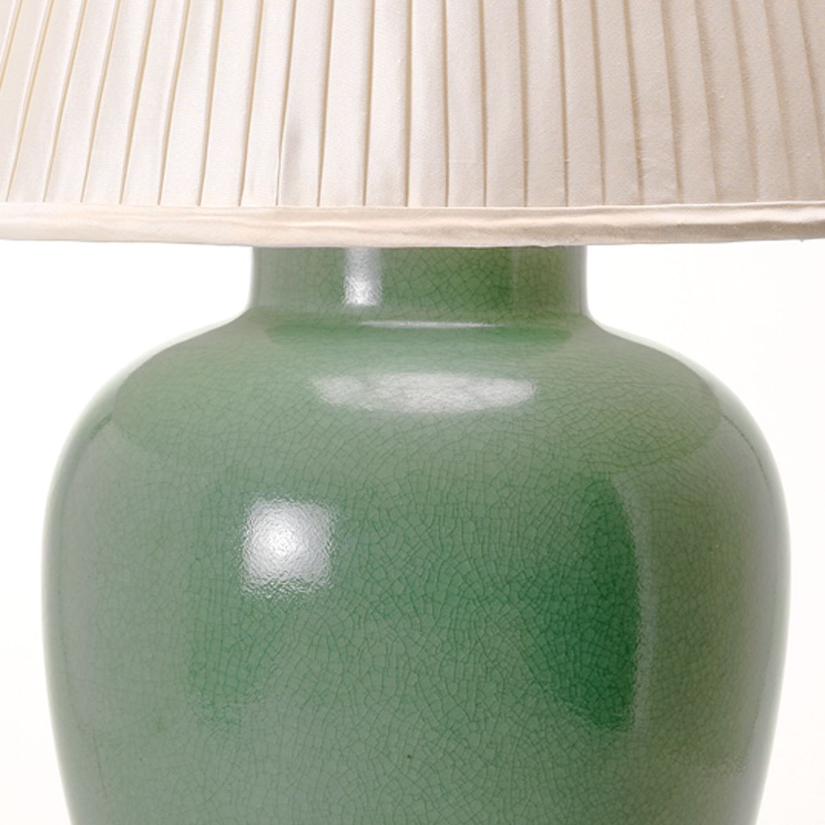 Melon Vase Table Lamp - Crackled Celadon - Detail | Nicholas Engert Interiors