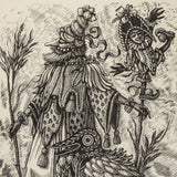 : Wood Engraving - Two Fantastics - Detail