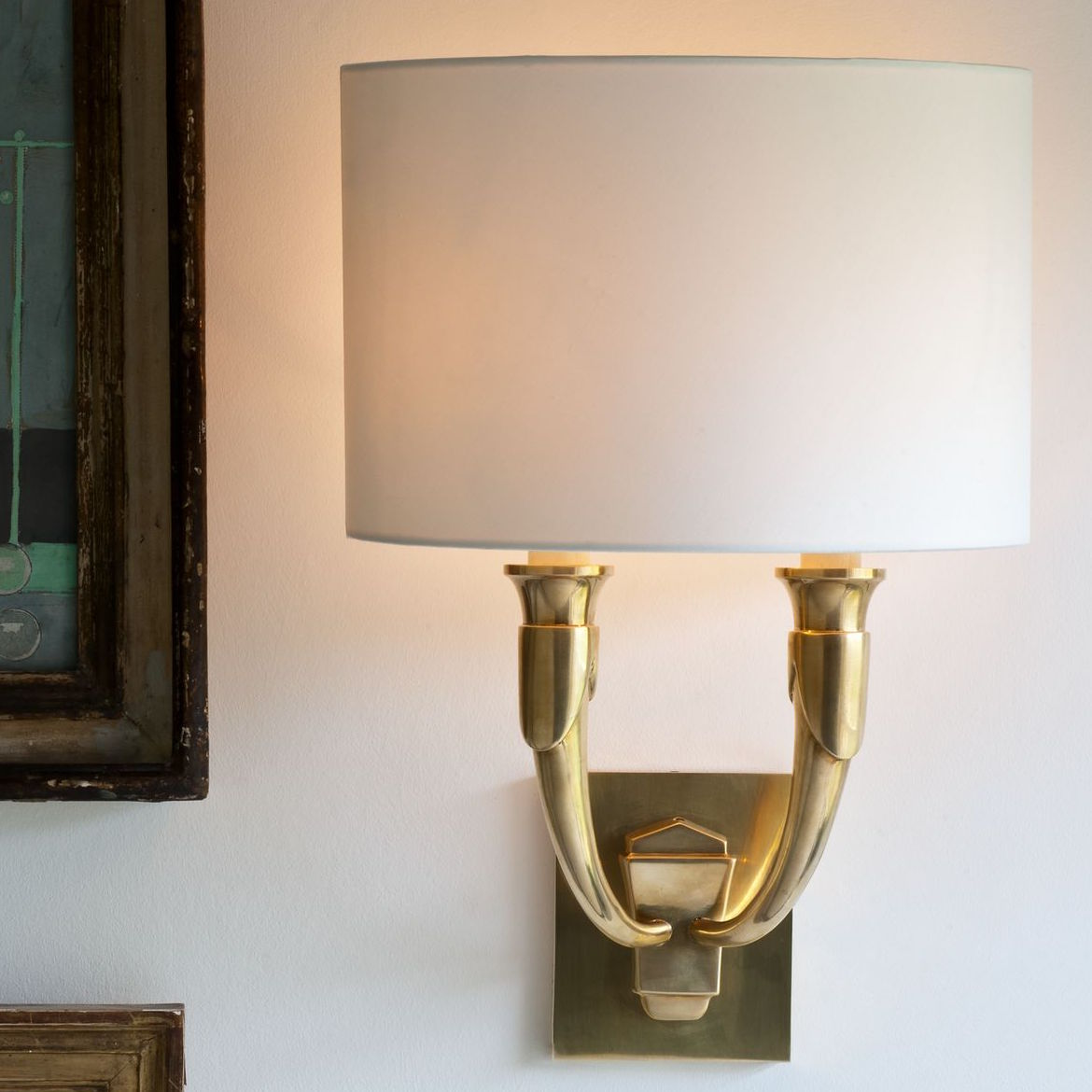 French Horn Wall Light-Brass-Context | Nicholas Engert Interiors