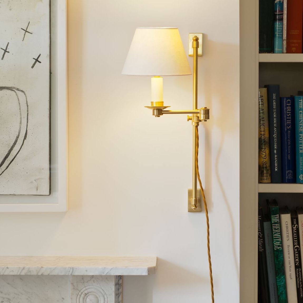 Oban Rise and Fall Wall Light-Polished Brass-Context | Nicholas Engert Interiors