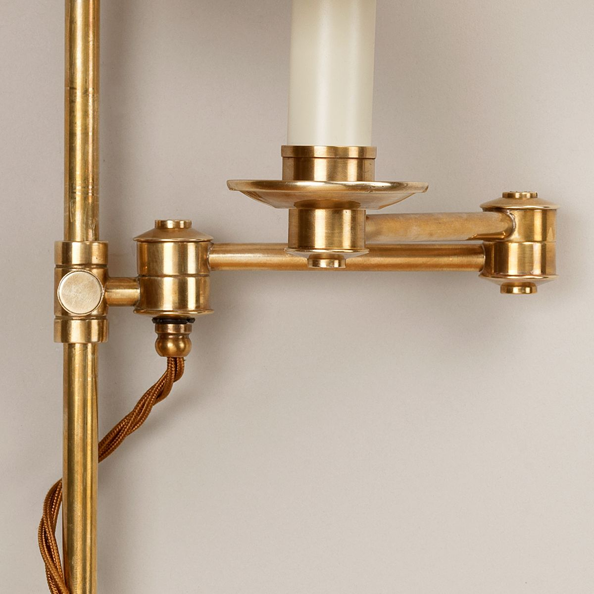 Oban Rise and Fall Wall Light-Polished Brass-Detail | Nicholas Engert Interiors