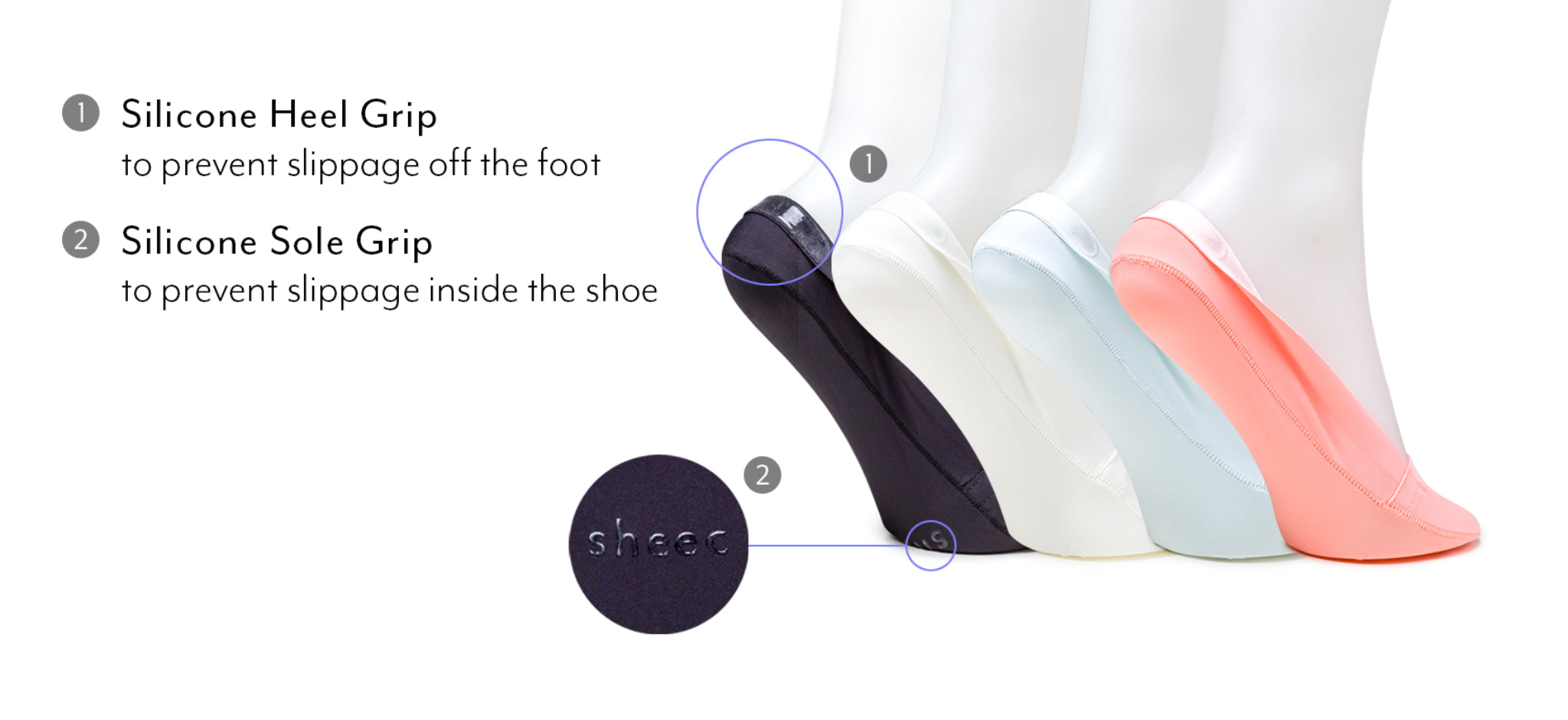 An Image that shows the advanced silicone grips on the heel and sole of InvisiCool.
