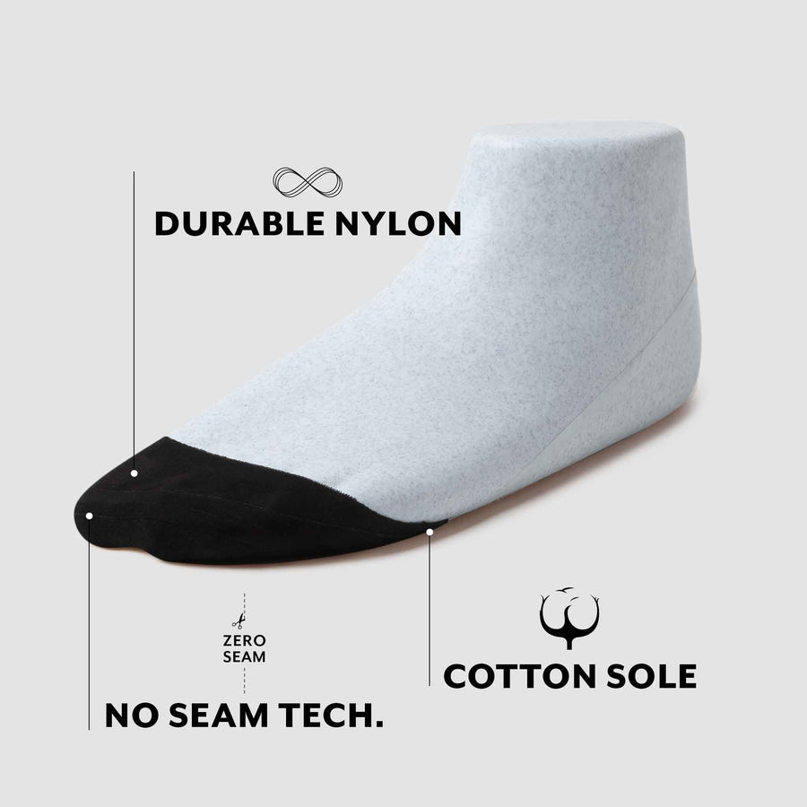 Toe cover sock with durable nylon sides, zero seam technology, and cotton sole for sweat absorption.