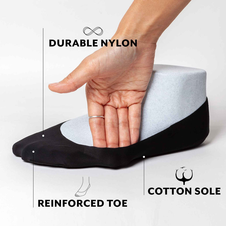 No show socks made with durable nylon sides and cotton sole for sweat absorption.