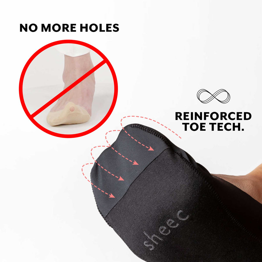 No show socks complete with a reinforced toe to prevent holes from forming.