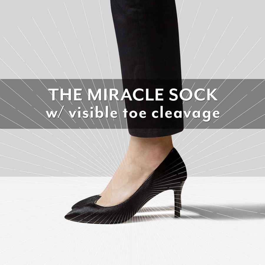 No show sock with visible toe cleavage which makes it low enough for high heel shoes.