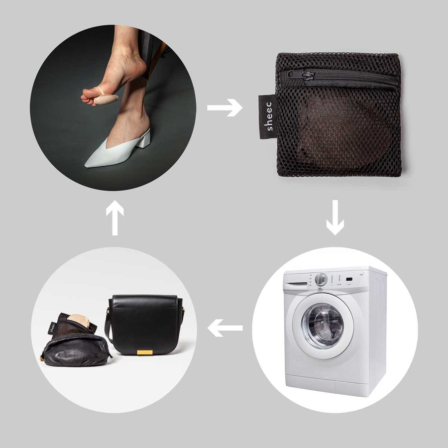 Women's Ball-of-Foot Cushion for High Heels | SockShion™ & Travel / Laundry Mesh Bag Bundle (4 pairs + 2 ea.)