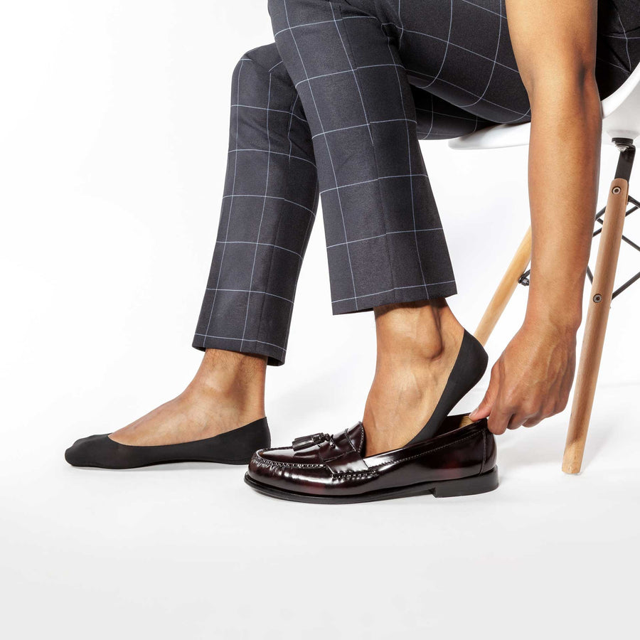 Black no show socks for men, pairs perfectly with loafers.