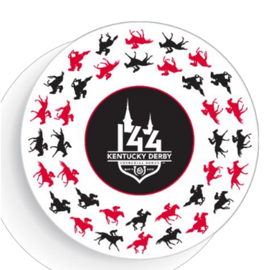 Kentucky Derby 144 White/Red/Black 9in. Party Plates - 8 Pack