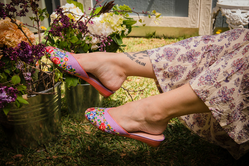 New needlepoint embroidered LUXE LOUNGE slippers by Miss L Fire