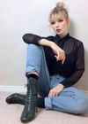 Frida Luxe Green Black Snake Lace up Boots