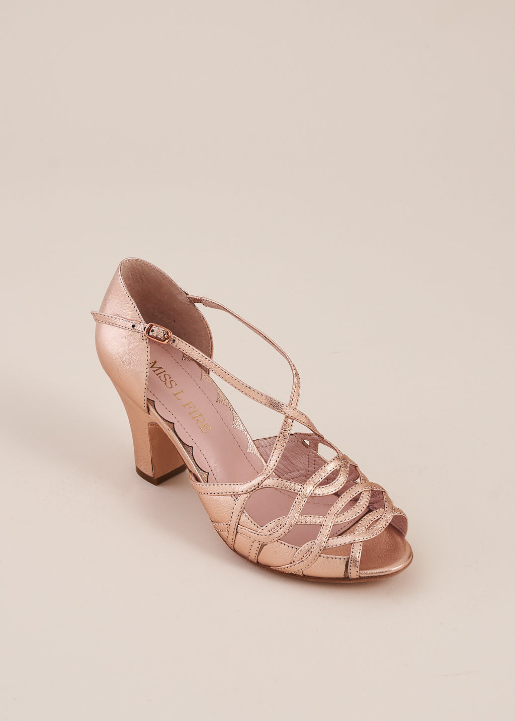Adele by Miss L Fire  in rose gold metallic leather is a strappy two part sandal with 3 inch heel. Perfect bridesmaid shoe. Ethically made.