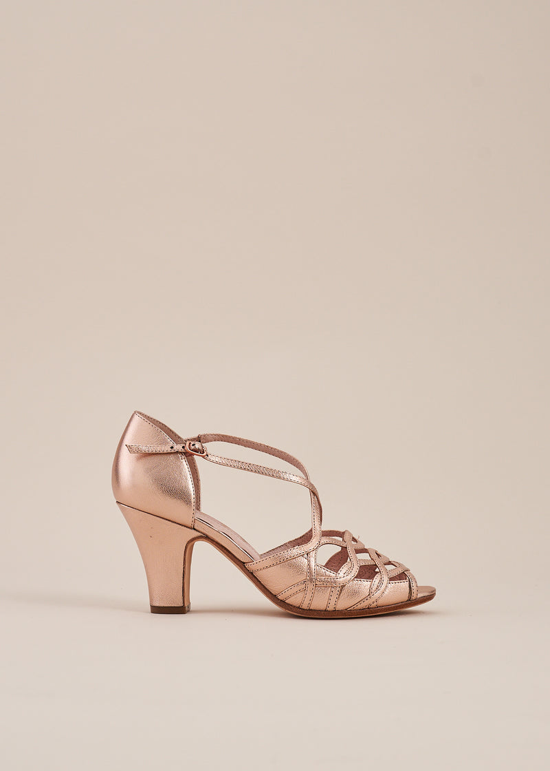 Adele Copper Metallic Leather Strappy Heeled Sandal