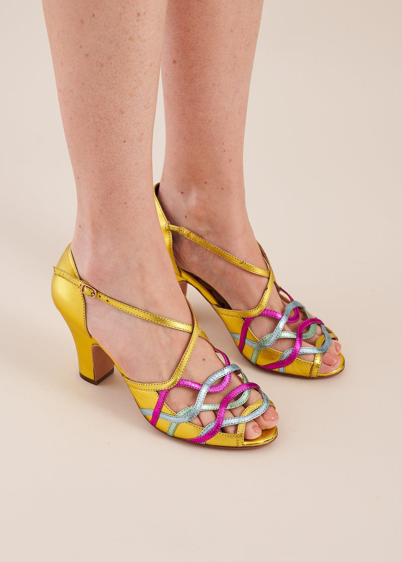 Adele by Miss L Fire in gold leather with multi coloured metallic strappy upper. Small batch, ethically made.